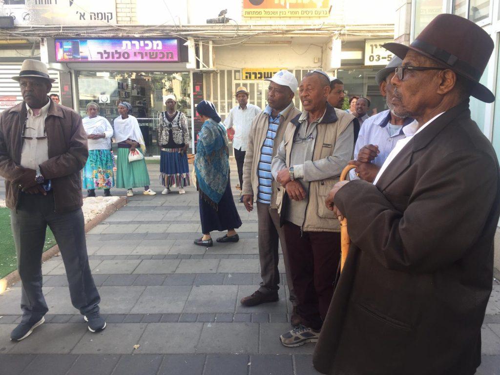 הפגנת הקהילה האתיופית מול העירייה