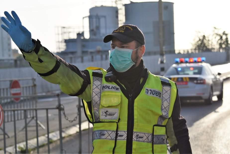 מחסום קורונה. צילום משטרה