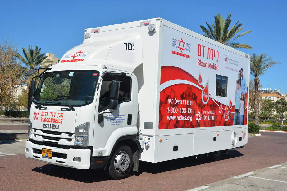 ניידת התרמת דם של שירותי הדם של מדא - צילום דוברות מדא