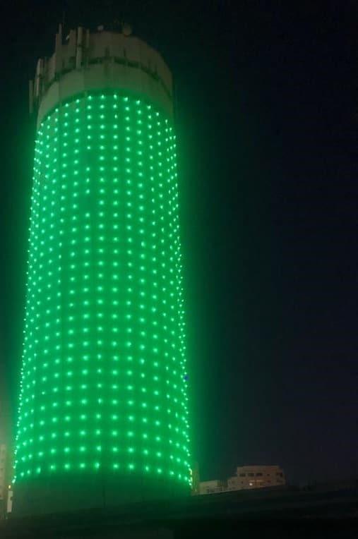 מגדל המים ירוק. צילום: דוברות עיריית קריית אונו
