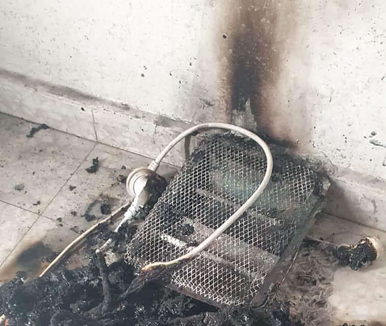 שריפה שנגרמה מתנור ספירלה (צילום כבאות אש והצלה)