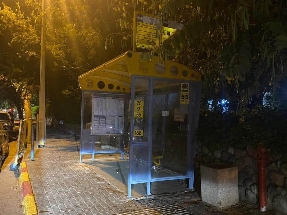 תחנת אוטובוס ברחוב הרי יהודה בגני תקווה. צילום: אונו ניוז
