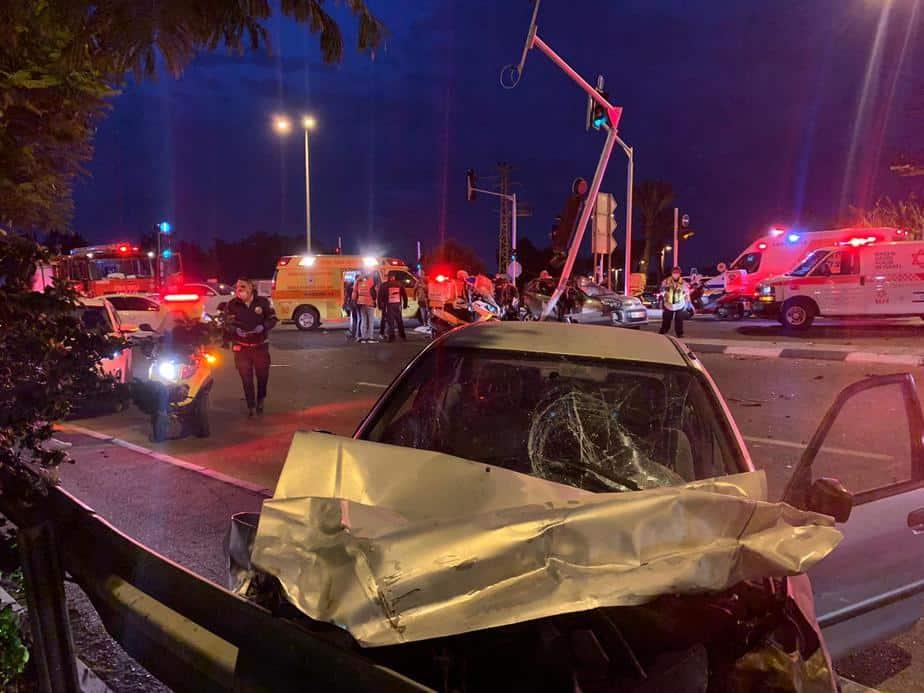 הרכב של הנאשם במקום התאונה. צילום: