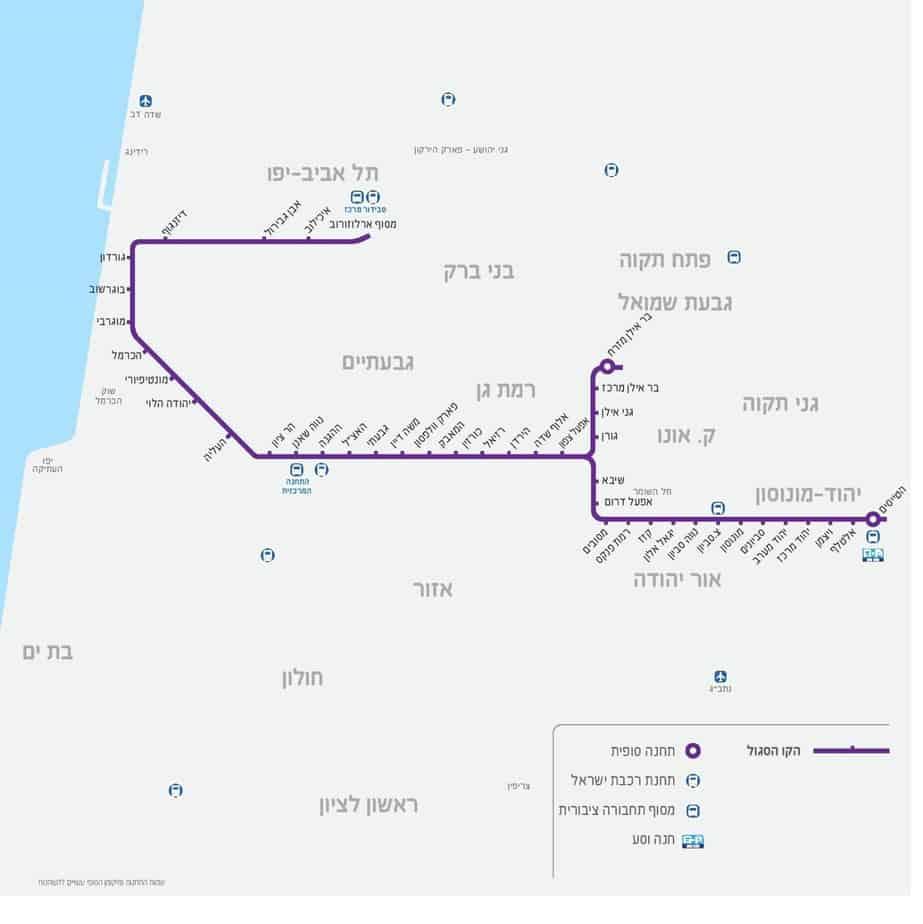 """מפת הקו הסגול של הרכבת הקלה. צילום: מתוך האתר של נת""""ע"""