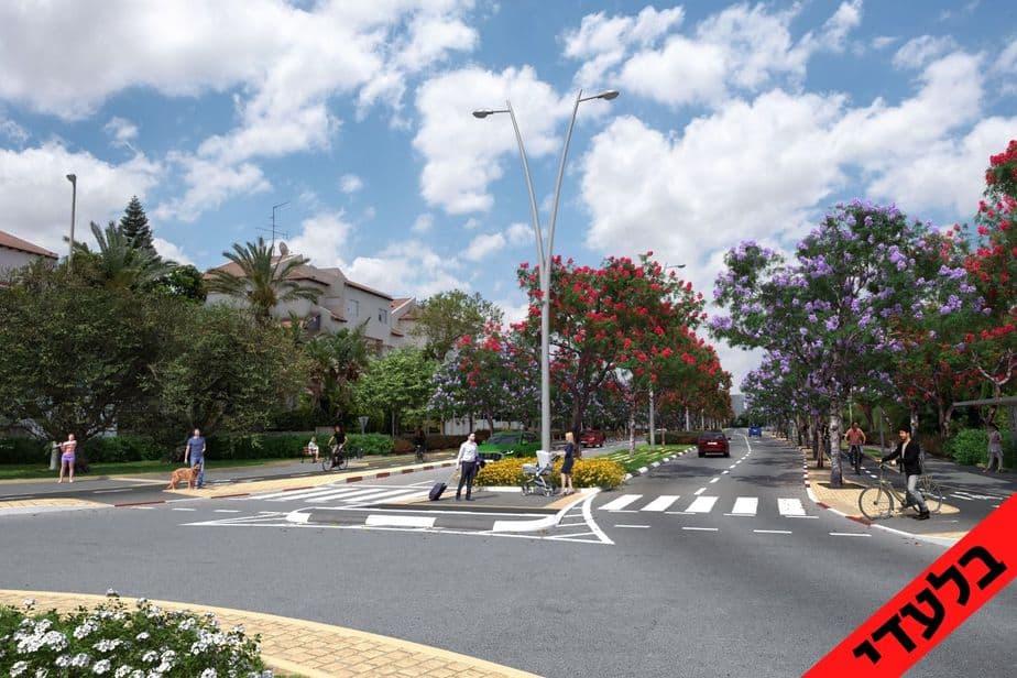 הדמיה של רחוב יגאל אלון באור יהודה. הדמיה: עיריית אור יהודה