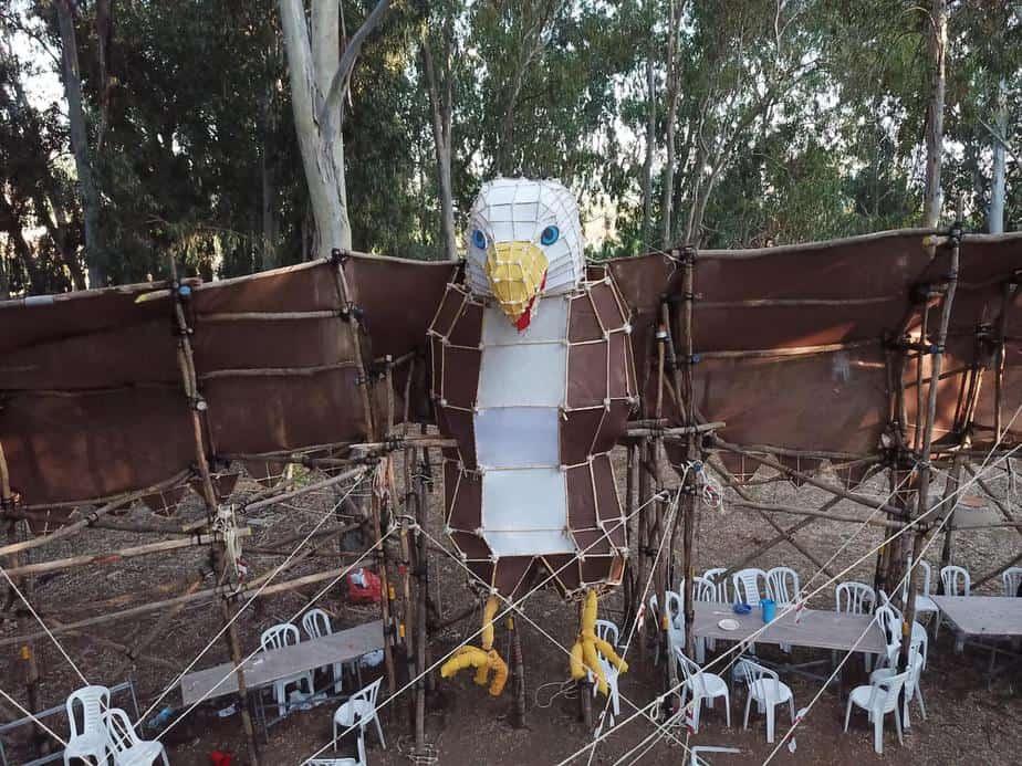 חדר האוכל במחנה של שבט יהודה. צילום: יוסי מויאל וניסים יצחק
