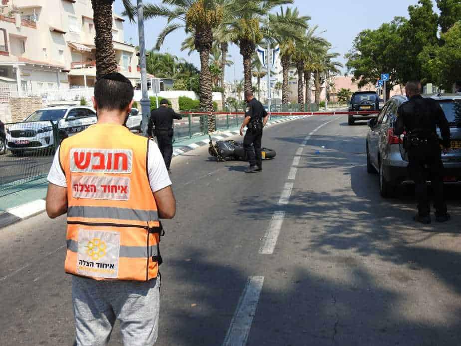 מקום האירוע ברחוב מנחם בגין באור יהודה. צילום: דוברות איחוד הצלה