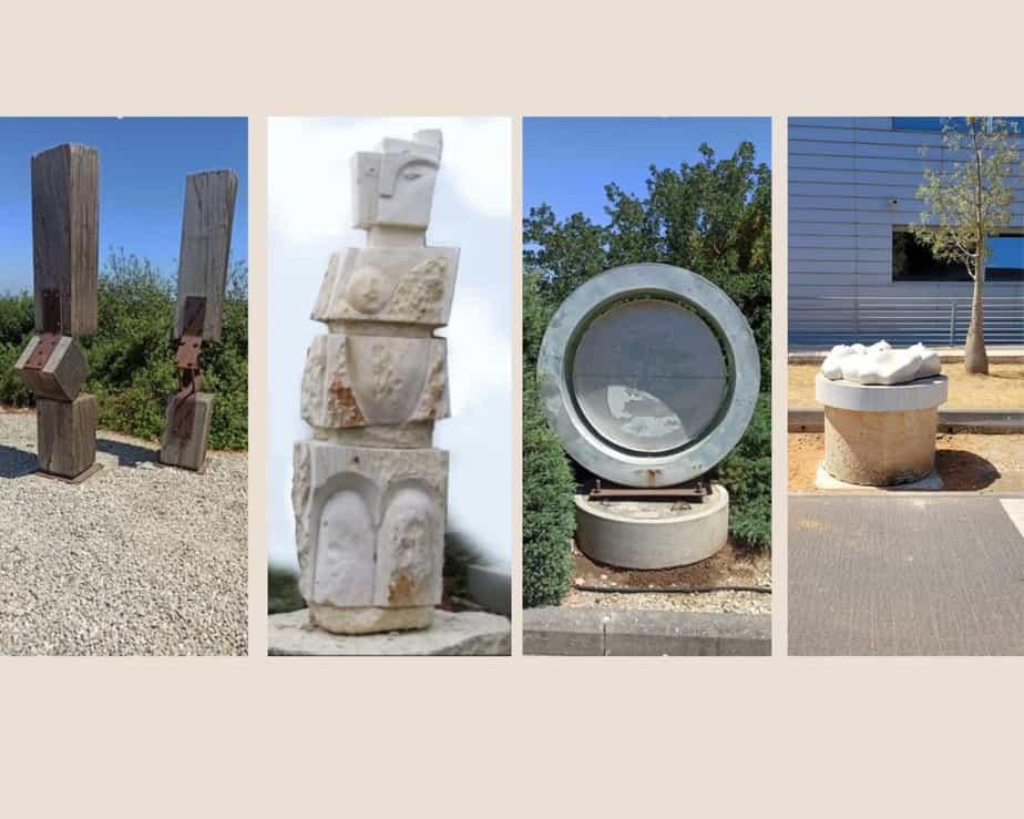 """מימין לשמאל: """"המעגל"""", """"תכשיט 2"""", """"ונוס"""" ו""""קורה רתומה"""". צילום: דוברות עיריית יהוד-מונוסון"""
