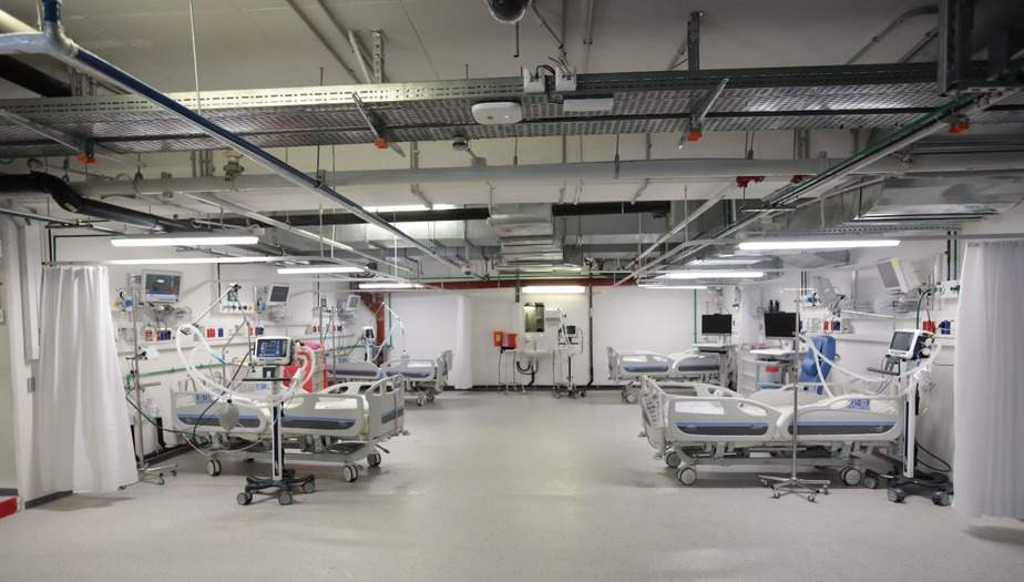 מחלקת הקורונה במתחם התת-קרקעי בבית החולים בילינסון. צילום: אלי לוי